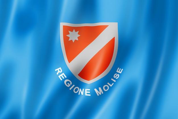 Flagge der region molise, italien wehende bannersammlung. 3d-darstellung