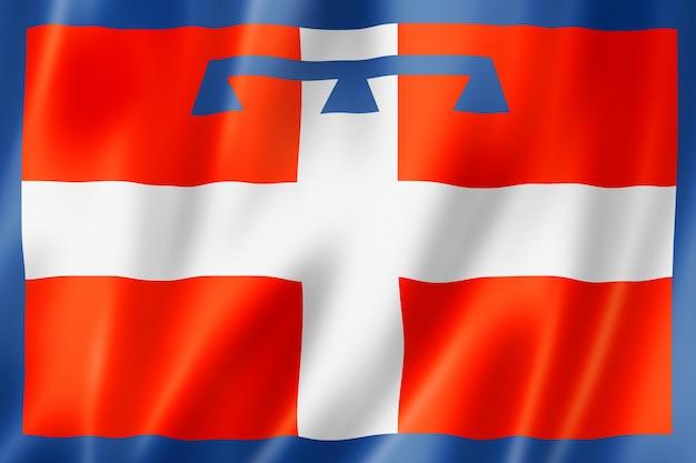 Flagge der region piemont, italien wehende bannersammlung. 3d-darstellung