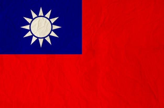 Flagge der republik china mit alter weinlesepapierbeschaffenheit
