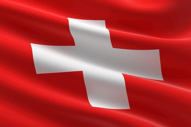 Flagge der schweiz. 3d-darstellung des schweizer fahnenschwingens.
