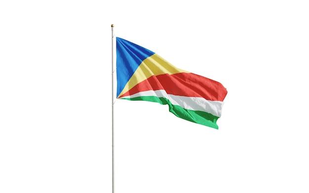 Flagge der seychellen lokalisiert auf weiß