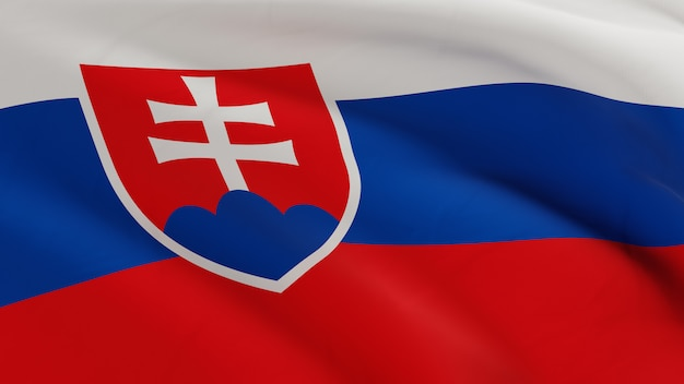 Flagge der slowakei, die im wind weht, stoffmikrotextur in der qualität 3d rendern