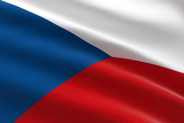 Flagge der tschechischen republik. 3d illustration des tschechischen flaggenwinkens