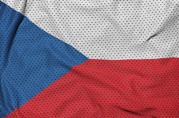 Flagge der tschechischen republik auf einem polyesternetz gedruckt