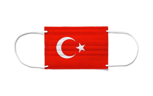 Flagge der türkei auf einer chirurgischen einwegmaske