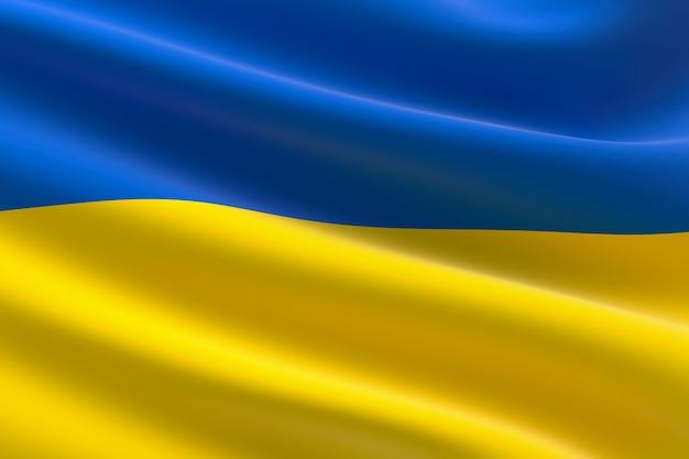 Flagge der ukraine. 3d-darstellung des ukrainischen fahnenschwingens.