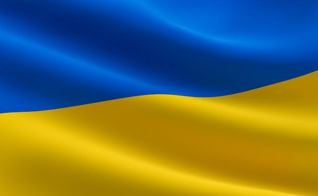 Flagge der ukraine. illustration der ukrainischen flagge wehen.