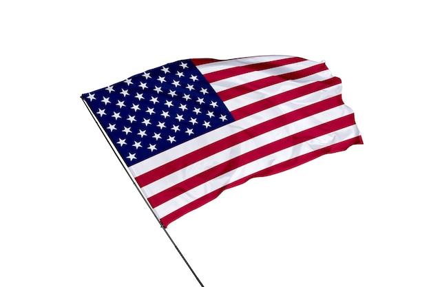 Flagge der vereinigten staaten auf weißem hintergrund