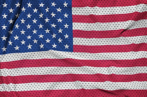 Flagge der vereinigten staaten von amerika gedruckt auf einem polyester-nylonnetz
