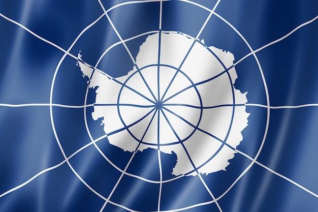 Flagge des antarktisvertragssystems. winkende banner-sammlung. 3d-darstellung
