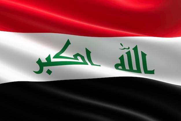 Flagge des irak. 3d-darstellung des irakischen fahnenschwingens.