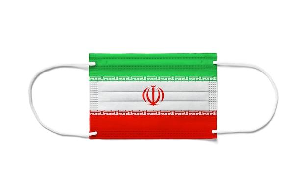 Flagge des iran auf einer chirurgischen einwegmaske
