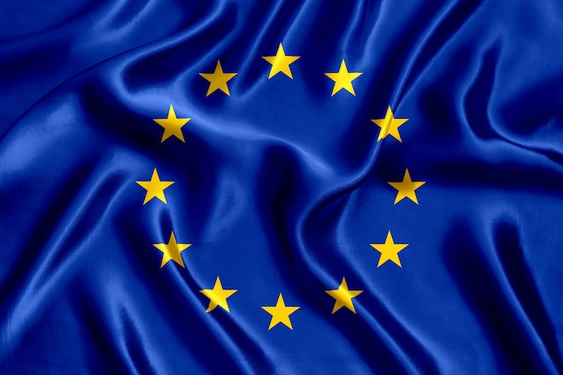 Flagge des seidennahaufnahme-hintergrunds der europäischen union