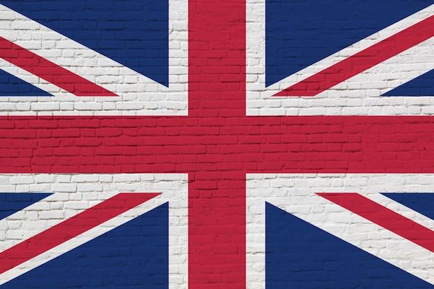 Flagge des vereinigten königreichs gemalt auf backsteinmauer