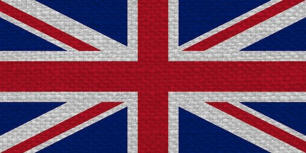 Flagge des vereinigten königreichs (uk) aka union jack mit stoffstruktur