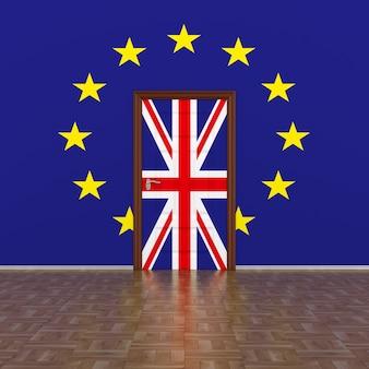 Flagge eu und großbritannien an wand und tür. 3d-bild.