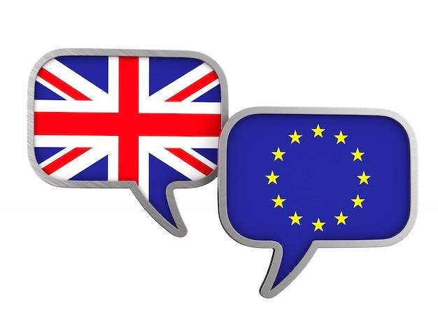 Flagge eu und großbritannien auf leerraum. isolierte 3d-illustration