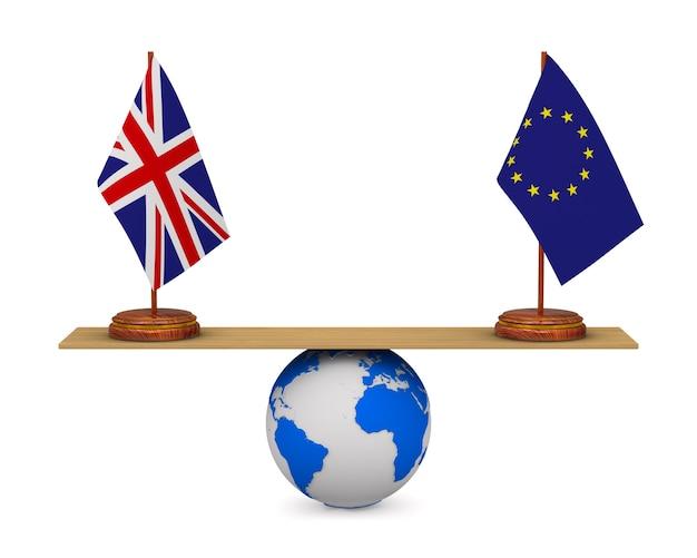 Flagge eu und großbritannien auf skalen. isolierte 3d-illustration.