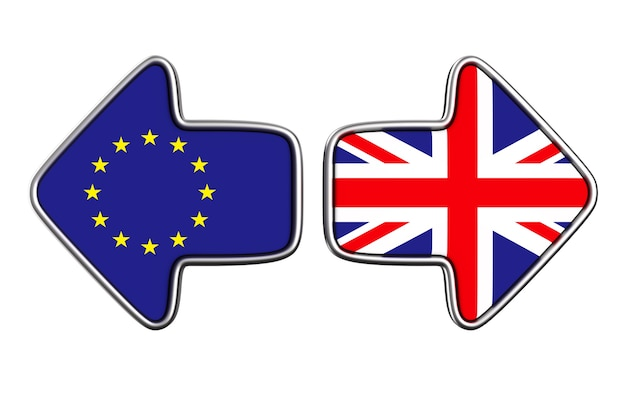 Flagge eu und großbritannien auf weißer oberfläche. isolierte 3d-illustration.