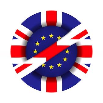 Flagge eu und großbritannien und zeichen auf weißer oberfläche verboten. isolierte 3d-illustration.