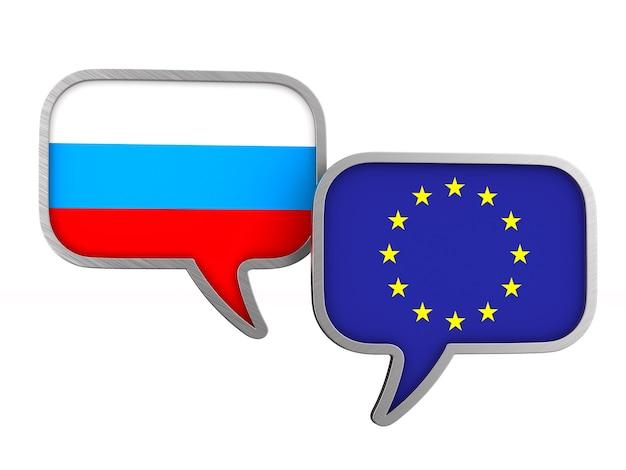 Flagge eu und russland auf leerraum. isolierte 3d-illustration