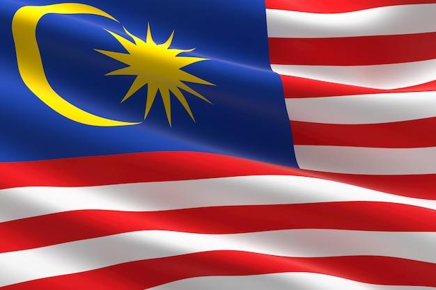 Flagge malaysias. 3d-darstellung des malaysischen fahnenschwingens.