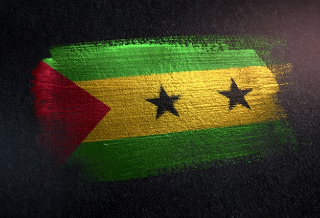 Flagge são tomã © und príncipe gemacht von der metallischen pinsel-farbe auf dunkler wand des schmutzes