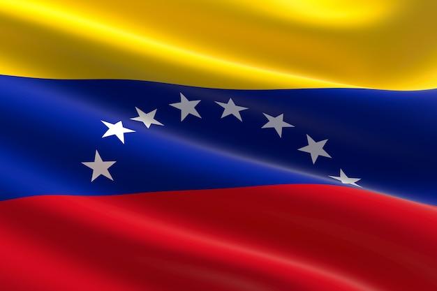 Flagge venezuelas. 3d-darstellung des venezolanischen fahnenschwingens.