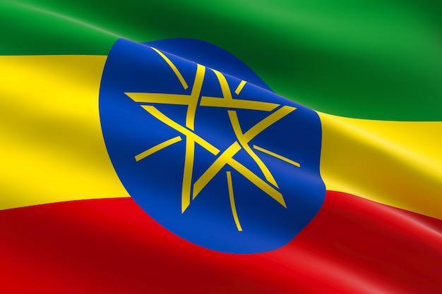 Flagge von äthiopien. 3d illustration der äthiopischen flagge, die weht