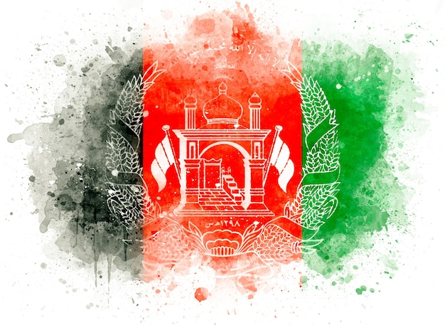 Flagge von afghanistan als aquarellillustration