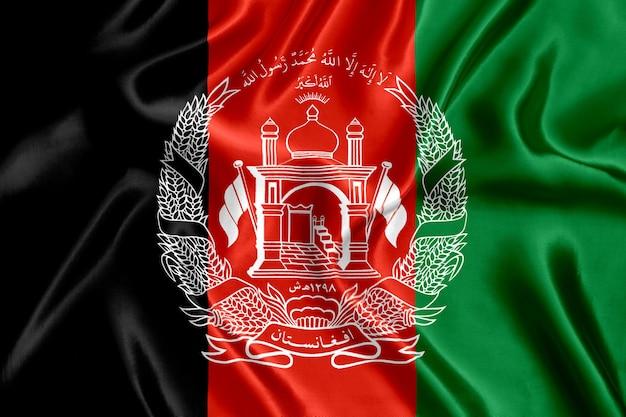Flagge von afghanistan seidennahaufnahme