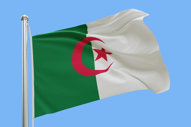 Flagge von algerien auf fahnenmast, der im wind weht, lokalisiert auf blauem hintergrund