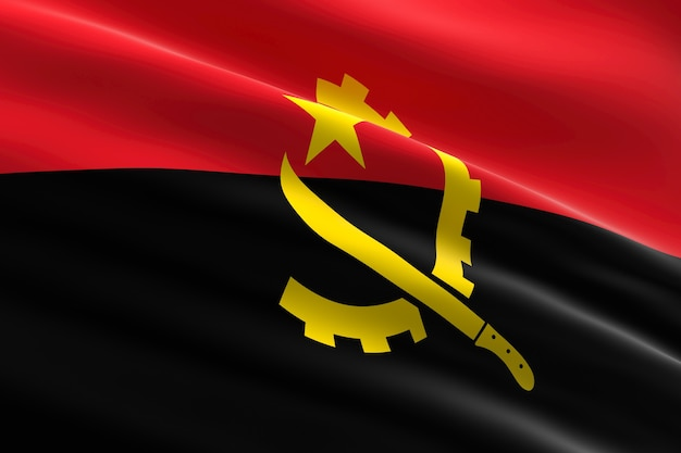 Flagge von angola 3d illustration der angolanischen flagge, die weht