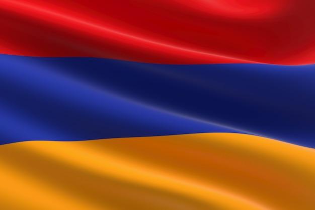 Flagge von armenien. 3d-darstellung des armenischen fahnenschwingens.