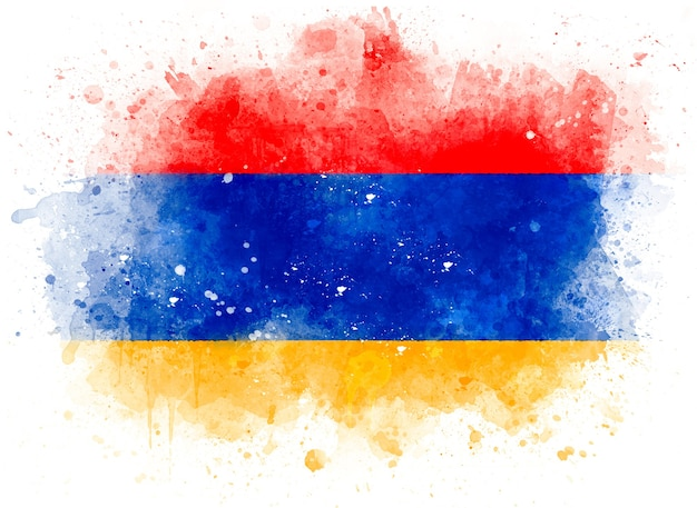 Flagge von armenien als aquarellillustration