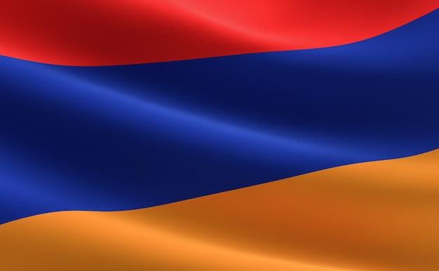Flagge von armenien. illustration der armenischen flagge winken.