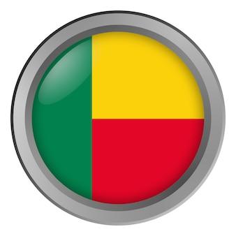 Flagge von benin rund als knopf