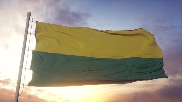 Flagge von den haag, stadt der niederlande, die im wind-, himmels- und sonnenhintergrund weht. 3d-rendering