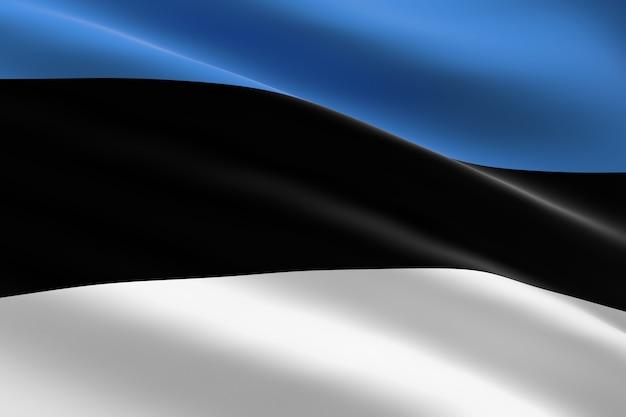 Flagge von estland. 3d illustration der estnischen flagge, die weht