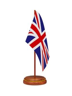 Flagge von großbritannien auf weißer oberfläche. isoliertes 3d-bild.