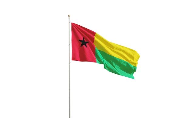 Flagge von guinea-bissau lokalisiert auf weiß