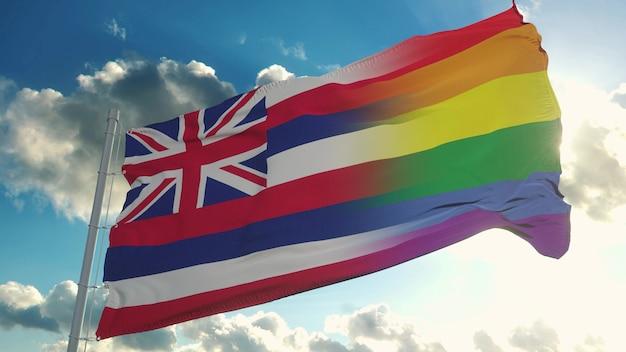 Flagge von hawaii und lgbt
