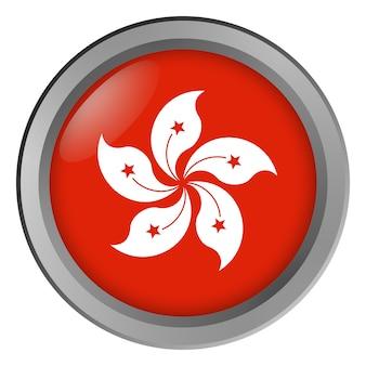 Flagge von hongkong rund als knopf