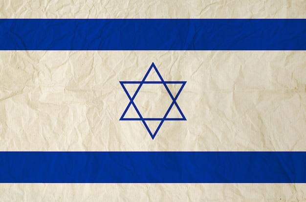 Flagge von israel mit alter papierbeschaffenheit der weinlese