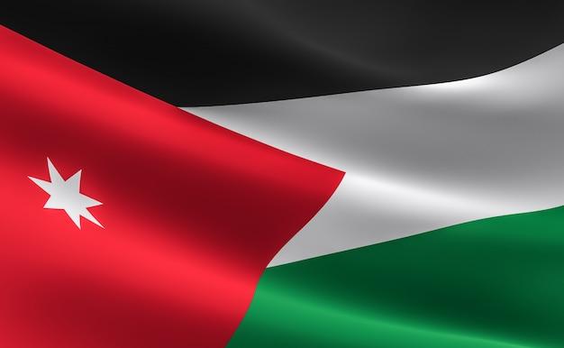 Flagge von jordanien. 3d-darstellung der jordanischen fahne winken.