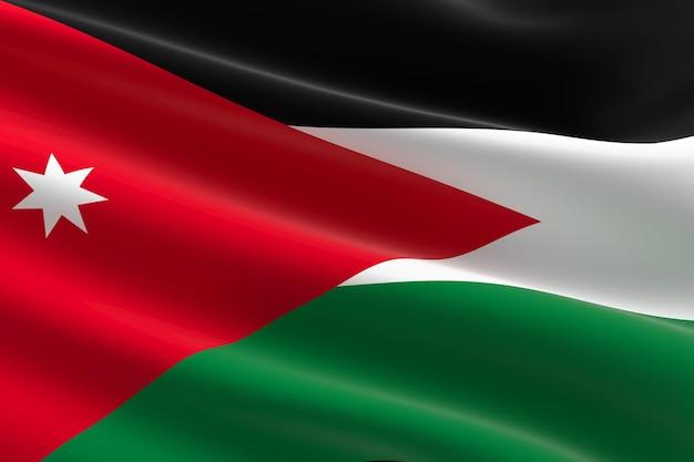 Flagge von jordanien. 3d-darstellung des jordanischen fahnenschwingens.