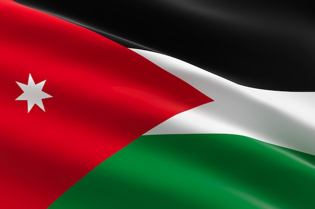 Flagge von jordanien. 3d illustration der jordanischen flagge, die weht