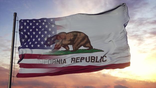 Flagge von kalifornien und den usa am fahnenmast. gemischte flagge der usa und kalifornien, die im wind weht