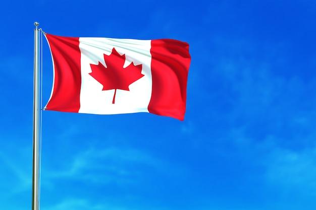 Flagge von kanada auf der wiedergabe 3d des hintergrundes des blauen himmels