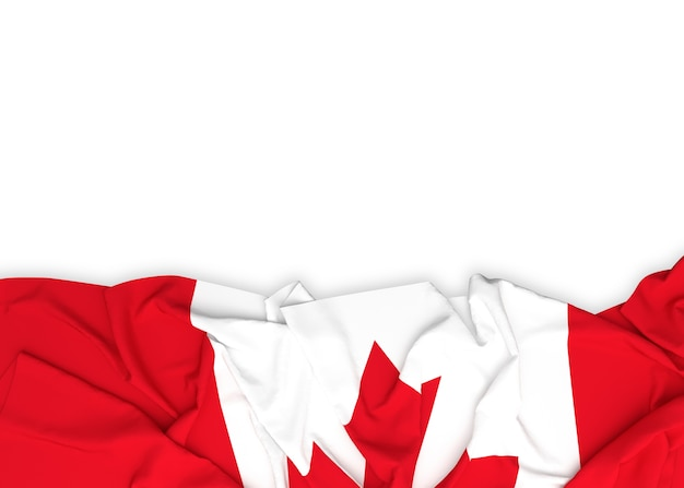 Flagge von kanada auf weißem hintergrund mit beschneidungspfad